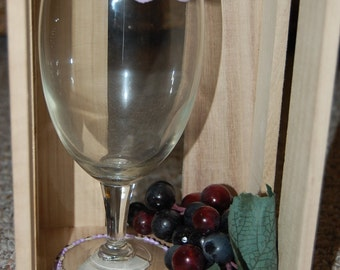 Purple Mustache Hand Painted Wine Glass