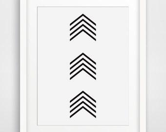 Chevron Wall Art, Small Thin Chevrons, Black & White Wall Art, Tribal Art, Chevron Wall Art, Small Black Arrows, Arrow Wall Art, Arrow Print