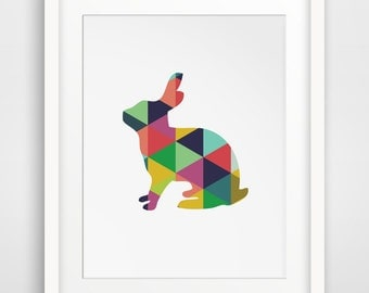 Rabbit Print, Easter Art, Colorful Art, Printable Art, Wall Prints, Spring Decor, Geometric Animal, Animal Prints, Colorful Prints