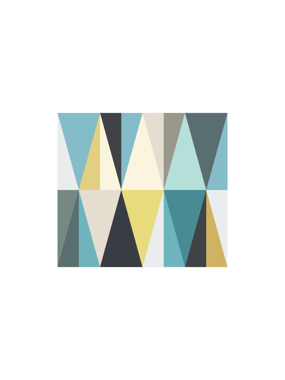 Teal And Mustard Geometric Triangle Wall Art Yellow And Blue