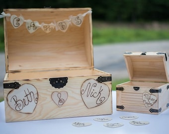 Large Rustic Wedding Card Box &Wishes Box - Rustic Wooden Wedding Box - Shabby Chic Box - Well Wishes Box