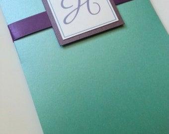 Teal and Purple Hibiscus Wedding Invitation