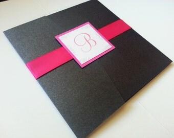 Elegant Hot Pink and Gray Wedding Invitation