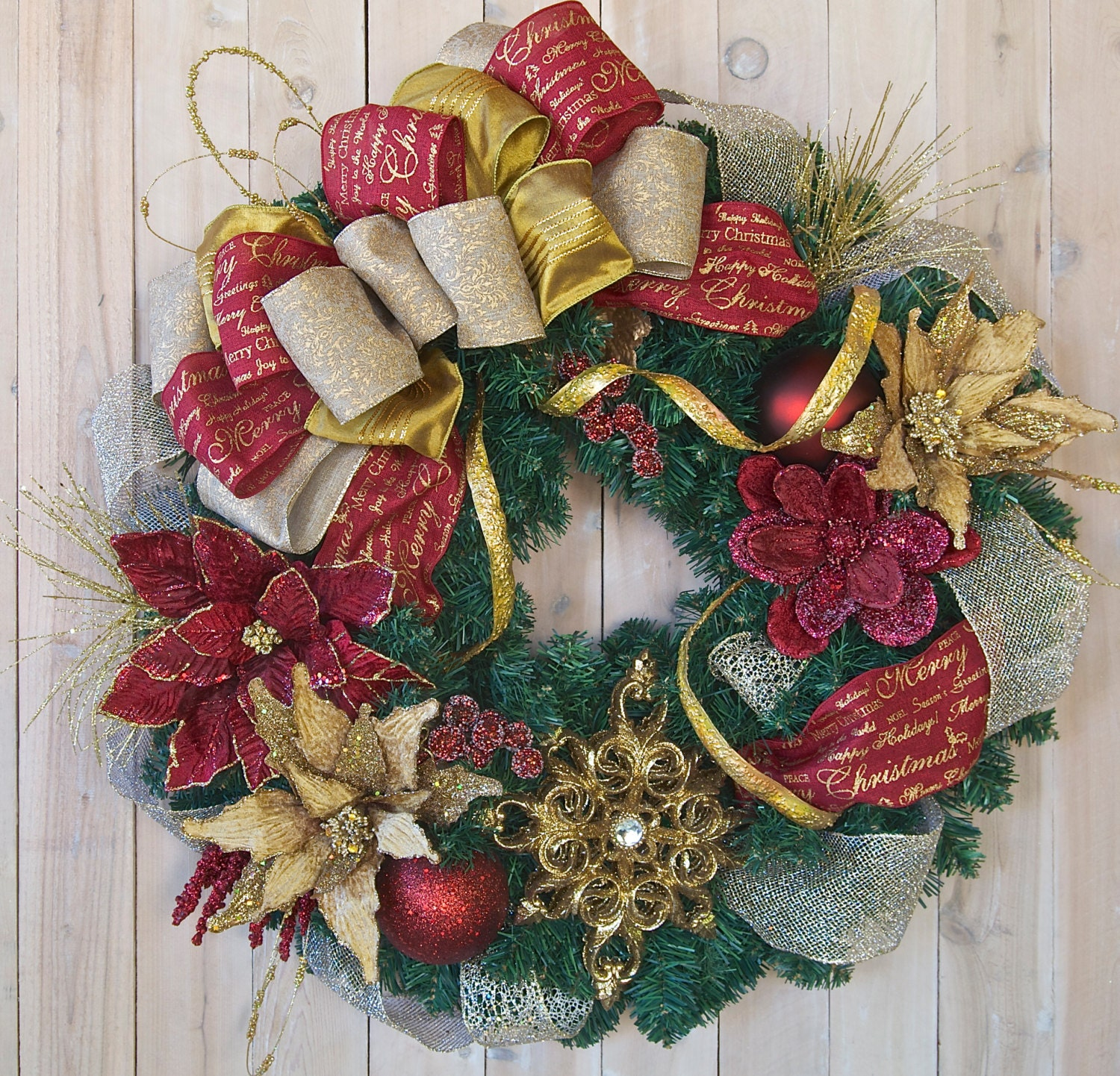 READY TO SHIP xl Elegant Christmas wreath by SignsStuffnThings