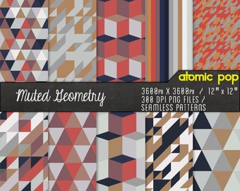SALE Instant Download // Muted Geometric Triangles Digital Paper Pack// Seamless Photoshop Patterns