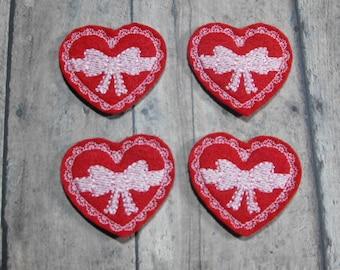Heart With Bow - Candy Box - felties - Machine Embroidered - Felt Applique - Felt Embellishment - Hairbow Center