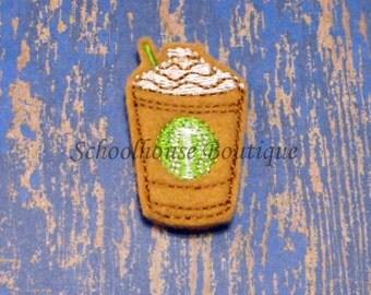 Chocolate Chip Frappe Frozen Coffee Drink felties, feltie, machine embroidered, felt applique, felt embellishment, hair bow center