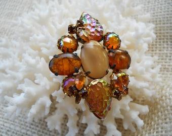 Vintage Brown Stone Brooch Pin