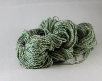 Alpaca Hand spun wool yarn - Alpaca Yarn, DK weight yarn, Luxury Yarn, hand dyed, sparkle, mint green
