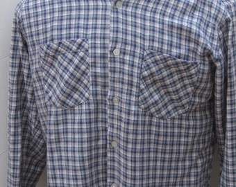 Vintage 80's Highlander Flannel by Bob Berma Navy & White Plaid Men's Long Sleeve Flannel Shirt-Outdoors Western Hiking Camping Work Shirt