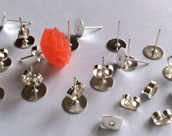 50 sets 8 mm Nickel Free Silver Earring Post with back,8 mm silver earring pad, silver earring post,silver ear nuts,silver findings
