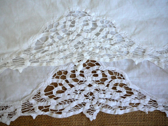 Battenburg Twin Bedskirt White Lace Linen By