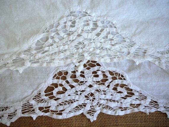 Battenburg Twin Bedskirt White Lace Linen Cotton Blend Twin