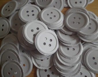 100 White embossed button die cuts PB4 -perfect for confetti, scrapbooking, cards, showers, embellishments