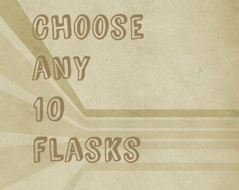 10 Flasks set - Groomsmen gifts - Set of 10 - Bridesmaid gifts - Bachelor party gifts - Favors for Men - Select any 10 flasks - Value pack