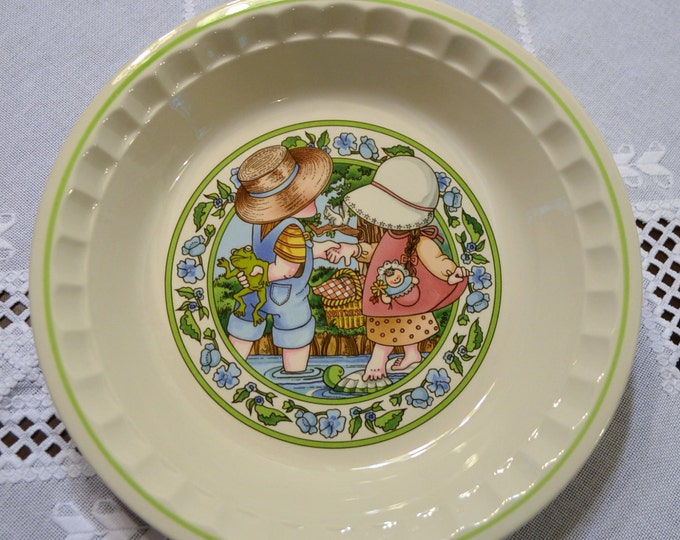 Vintage Watkins Country Kids Pie Plate Summertime Friends Collectible 1989 Panchosporch