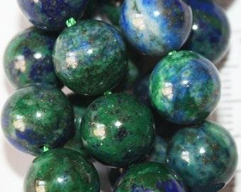 "Genuine Azurite Malachite Beads - Round 10 mm Gemstone Beads - Full Strand 15 1/2"", 37 beads, A-Quality"