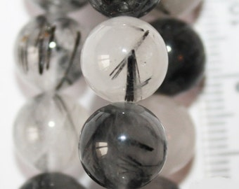 "Genuine Rutilated Quartz beads 10 mm - Gemstone Beads - Full Strand 16"", 40 beads, A-Quality"