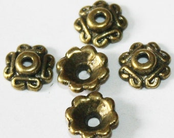 50 pcs Antique Bronze Bead Caps 7 mm, Lead, Nickel & Cadmium Free Jewelry Findings, metal findings
