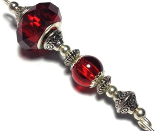 "5"" Red Glass Bead Hat Pin Vintage Antique Tibetan Silver Style - With Pin Protector (HP3-6)"