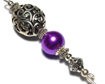 """5"""" Purple Glass Pearl Hat Pin Vintage Tibetan Antique Silver Style - With Pin Protector (HP3-19)"""