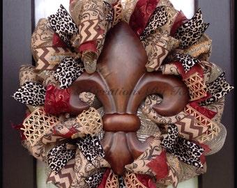 Fleur de Lis Wreath - Chevron Wreath - Animal Print Wreath - Burlap - EVERYDAY Wreath - Deco Mesh Wreath - Door Decor - Made To Order
