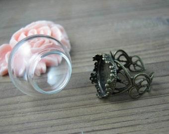 Clear glass globe vials ring blanks kits,sphere glass bottle ring settings,15mm opening,adjustable brass ring blanks findings supplies T5566