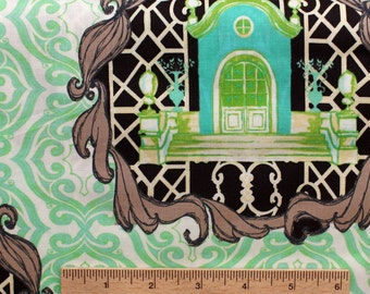 Tina Givens fabric Pernilla's Journey Homestead TG98 Lime green brown cream turquoise Sewing Quilting fabric cotton by the yard Free Spirit