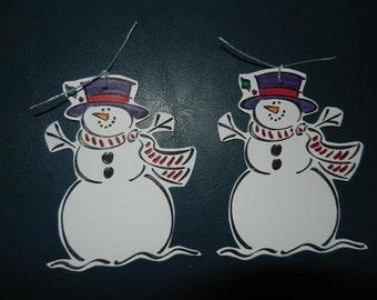 Set of 2 Christmas Snowman Gift Tags