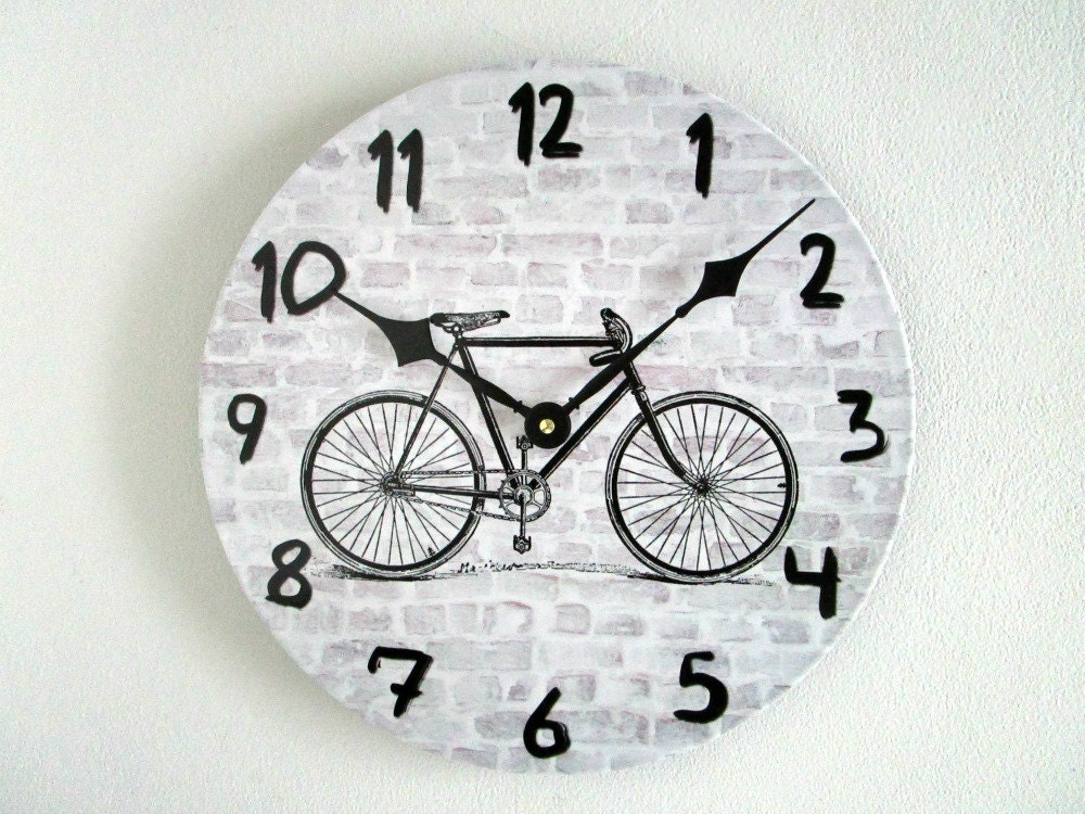 Bike Design Wall Clock : Bicycle wall clock for men rustic urban decor