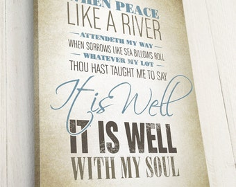 Christian Hymn Lyrics, Typography Art on Canvas,  It is Well with My Soul, Pick your own colors, Premium Canvas