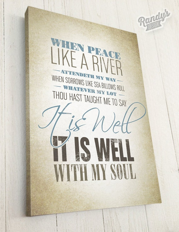 Christian hymn lyrics typography art on canvas it is well for Bedroom hymns lyrics