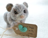 felted baby possum. needle felted wool animal figurine. poseable small opossum, woodland animal. spring decoration & gift. grey and peach.