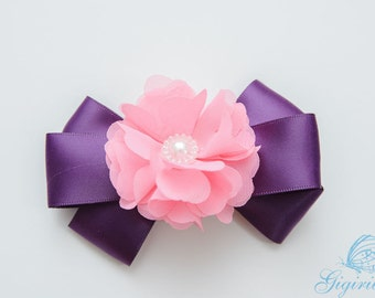 plum and hot pink flower Hair Bow hair clip