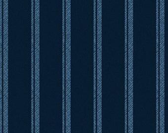Half Yard Normandy Court - Ticking Stripe in Navy and Blue - Cotton Quilt Fabric - designed by Michele D'Amore for Benartex Fabrics (W1481)