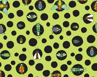 Fat Quarter Bugs - Bug Dots in Green - Cotton Quilt Fabric - by Jone Hallmark for Blend Fabrics (W1841)