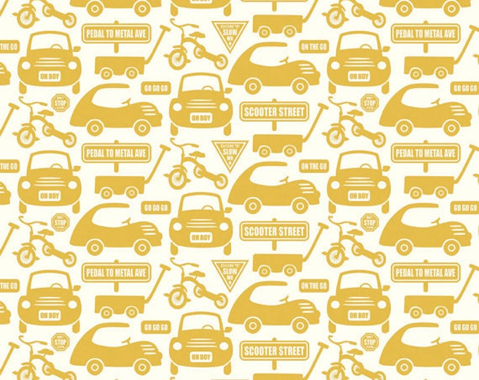 SALE!!  Fat Quarter Cruiser Blvd - Cars in Yellow - Cotton Quilt Fabric - Sheri McCulley Studio for Riley Blake Designs (W788)