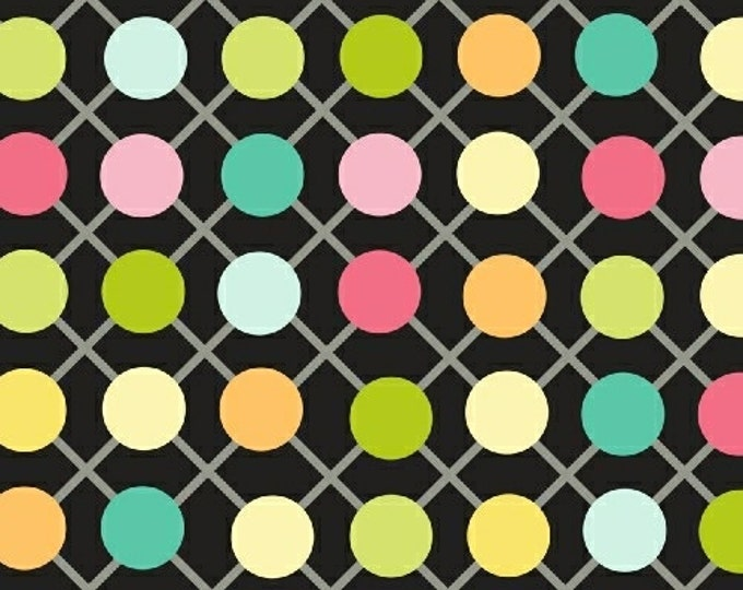 Half Yard .Com or Dot Com - Grid Dot in Black - Polka Dot Cotton Quilt Fabric - by Whistler Studios for Windham Fabrics (W1228)