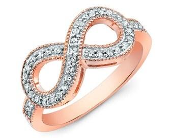 14K Rose Gold Diamond Infinity Ring