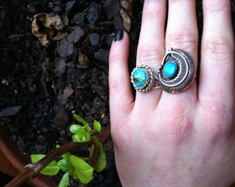 Southwestern Turquoise Feather Ring sz 7