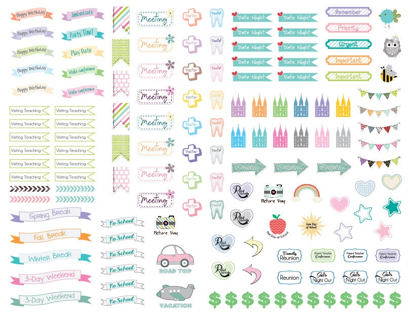 Calendar Planner Stickers : Cute and colorful lds themed planner calendar stickers