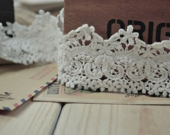 White Venice Lace, Cotton Embroidery Lace,  Floral Lace Trim, 1.57 Inches wide 2 yards
