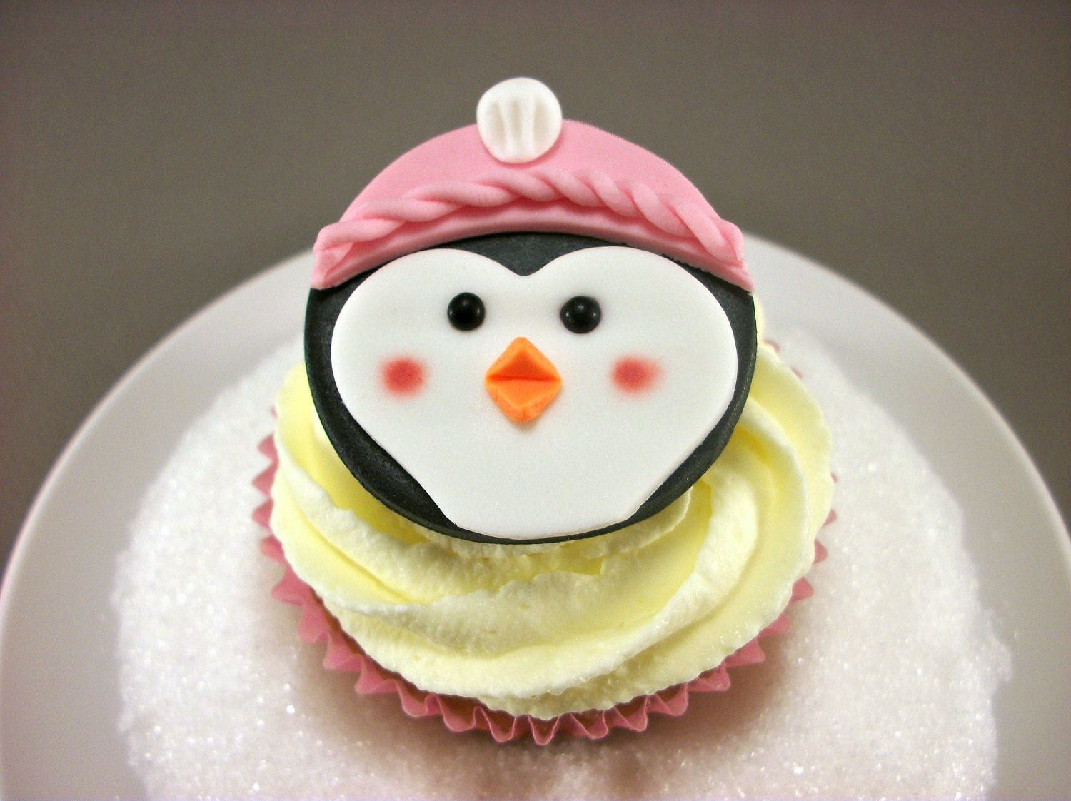 Penguin Girl Cupcake Fondant Edible Toppers Winter by
