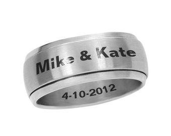 Mature Custom Bdsm Black Silver Stainless Steel Spinner Ring