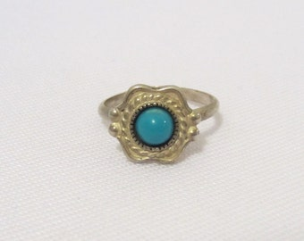 Vintage Southwestern Sterling Silver Turquoise Adjustable Ring Size 4