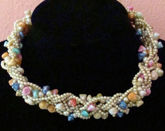 Vintage faux pearl and pastel sea shell choker