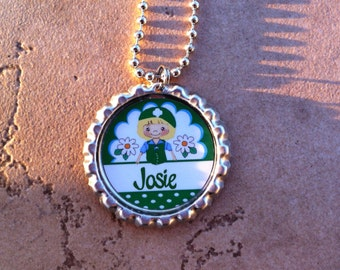 Personalized Girl Scout Bottle Cap Necklace OR Zipper Pull - YOU CHOOSE