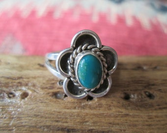 Vintage Turquoise and Sterling  Ring Size 4.25