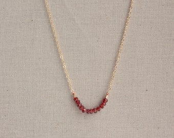 14k Gold Filled Garnet Gemstone Delicate Necklace