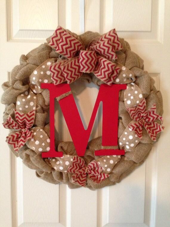 items similar to chevron burlap wreath with initial  summer wreath  spring wreath  wedding gift
